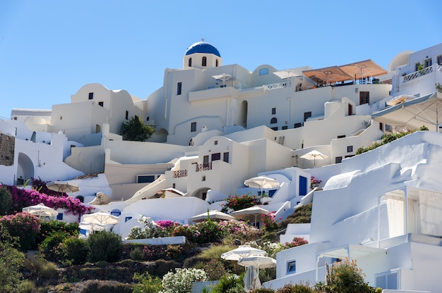 Close up of oia village from the sea in santorini island Premium Photo