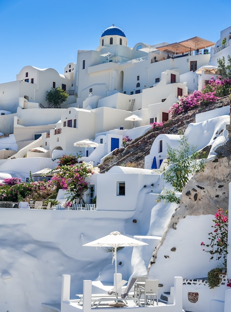Close up of oia village from the sea Premium Photo
