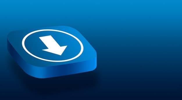 Закройте на 3d кнопку со значком стрелки загрузки Premium Фотографии