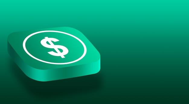 ドルのアイコンが付いた3 dボタンをクローズアップ Premium写真