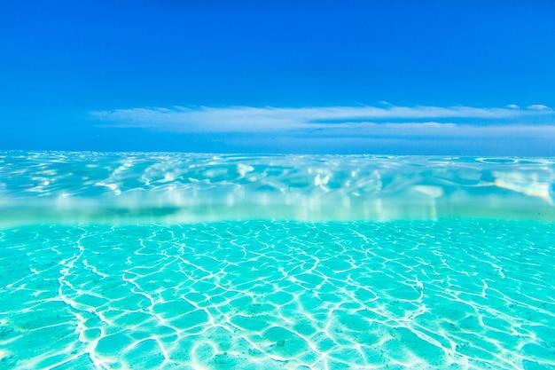 몰디브 해변과 깨끗한 물에 가까이 프리미엄 사진