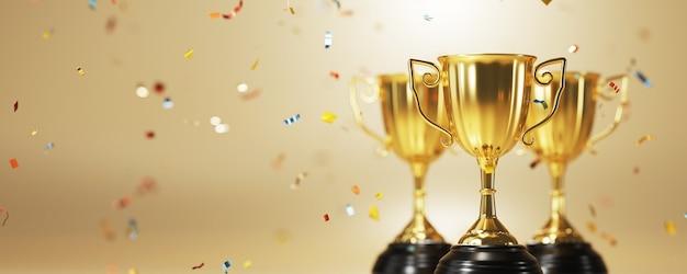 Крупным планом на золотой трофей в 3d-рендеринге Premium Фотографии