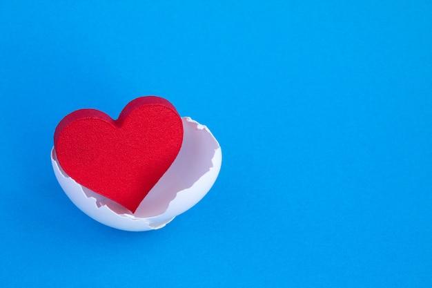 Закройте на форме сердца в яичной скорлупе Premium Фотографии