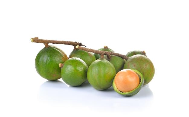 Крупным планом на сырые орехи макадамия изолированные Premium Фотографии