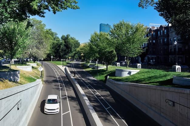 車と緑で都会の道路をクローズアップ 無料写真