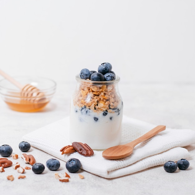 Close-up organic milk with blueberries and oats Free Photo