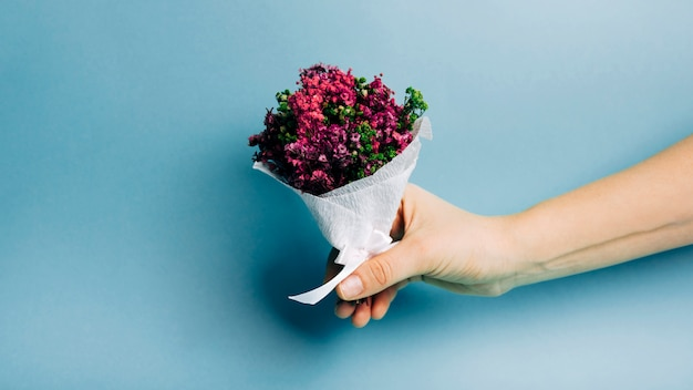 Close-up of a person hand holding beautiful bouquet against blue backdrop Free Photo