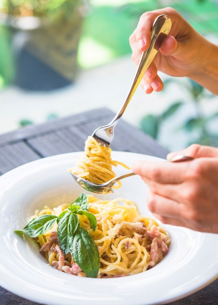 Close-up of a person holding appetizing spaghetti rolled on fork in the spoon Free Photo