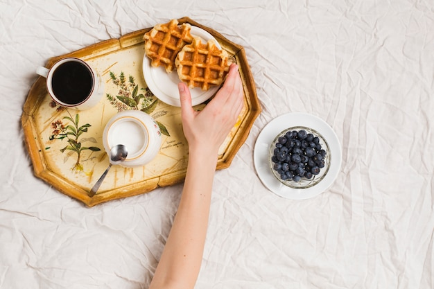 Close-up of a person's hand holding waffles with tea; powdered milk and blueberries on crumpled tablecloth Free Photo