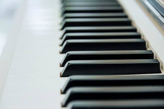 Close-up of piano keyboard centred on ab with plenty of white space Premium Photo