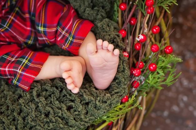 生まれたばかりの赤ちゃんの足、クリスマスの時期の写真を閉じる Premium写真