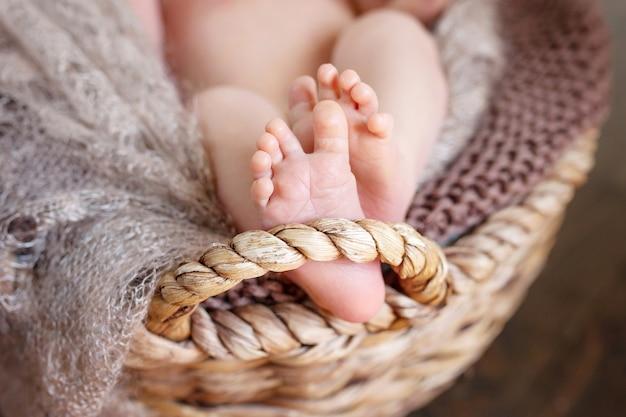 編み枝細工のバスケットに編み込まれた格子縞の新生児の足のクローズアップ写真 Premium写真