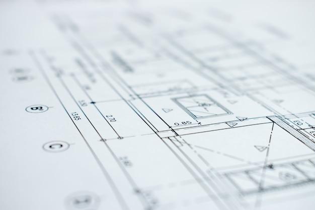 Close-up picture showing details of construction plans. Premium Photo