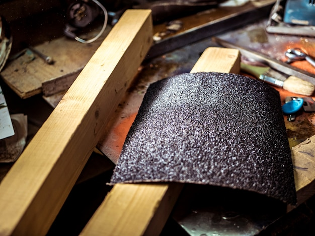 Close up piece of new abrasive on the table Premium Photo