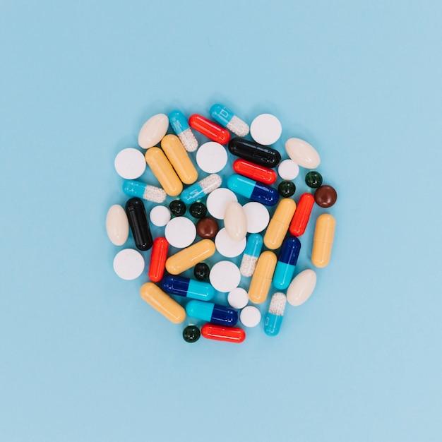 Close-up pile of pills Free Photo