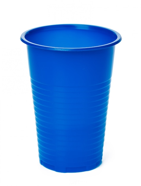 Close up of plastic cup on white background Premium Photo