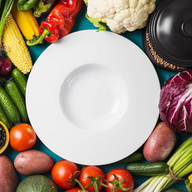 Close-up plate in vegetables Free Photo