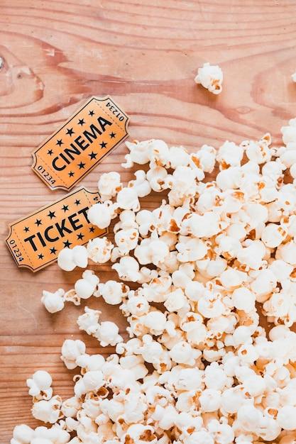 Close-up of popcorn for cinema Free Photo