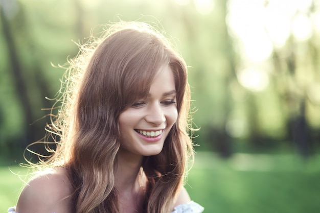 Close-up portrait of a beautiful girl Premium Photo