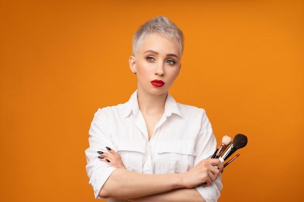 Close up portrait makeup artist. Premium Photo