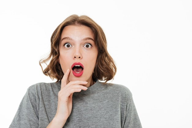 Close up portrait of a shocked pretty girl Free Photo