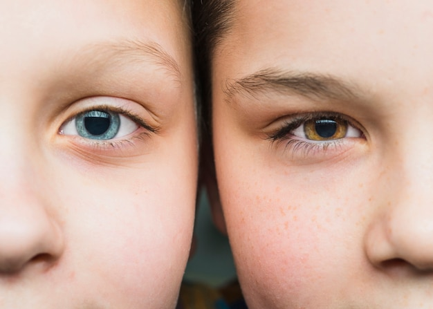 Close up portrait of two boys Free Photo