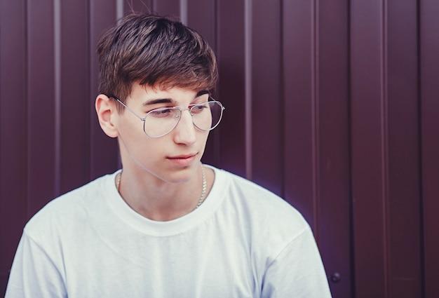 Close-up portrait of a young guy Premium Photo