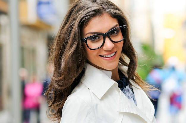 Close Up Of Pretty Woman With Glasses And Big Smile Photo