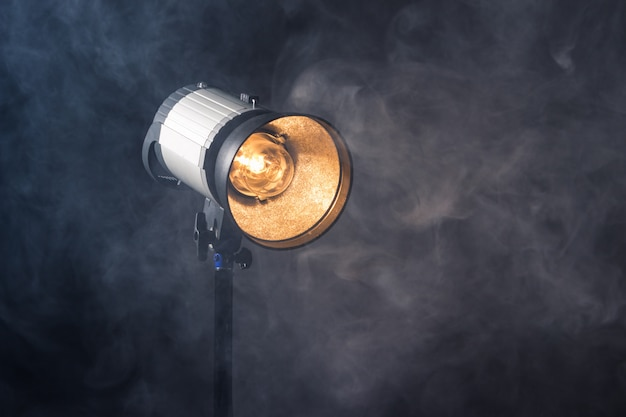 Close-up of a professional lighting fixture on a set or photographic studio. Premium Photo