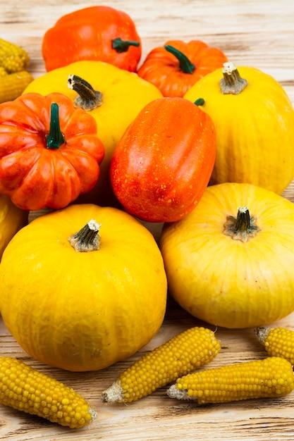 Close-up pumpkins with corn Free Photo