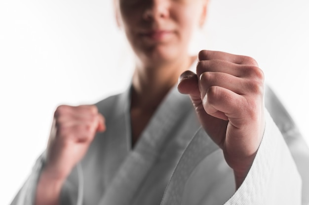 Close up punch of karate woman Free Photo