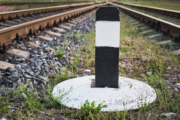 Close up of the railway limit bar Premium Photo