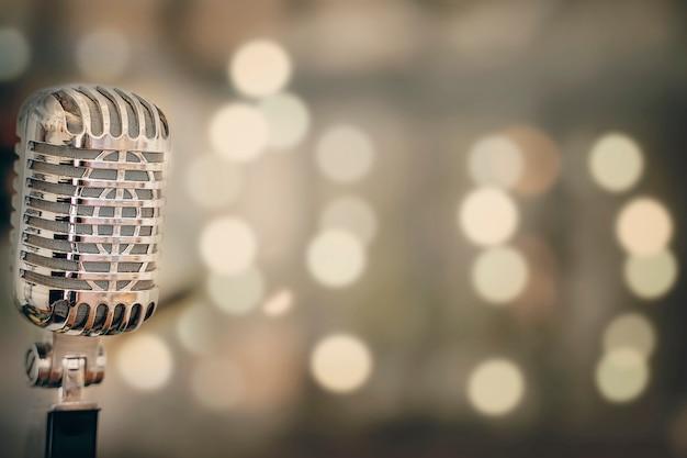 Close-up of retro microphone Premium Photo