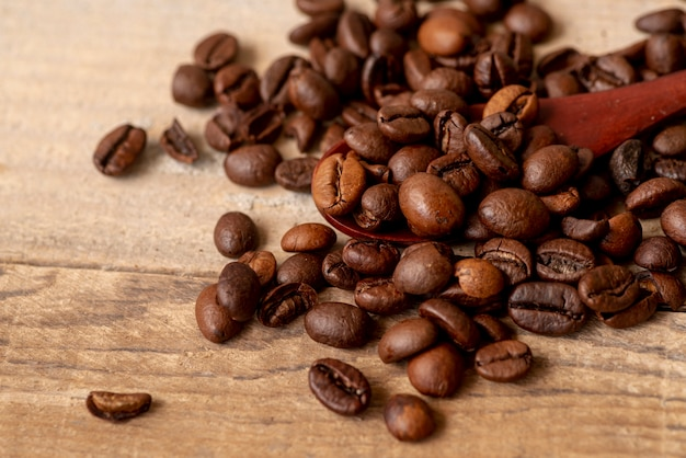 Close-up roasted coffee beans with spoon Free Photo