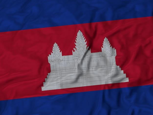 Close up of ruffled cambodia flag Premium Photo