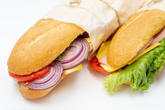 Close-up sandwiches on a towel Free Photo