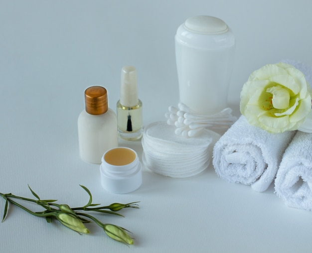 Close up of the set for body care Premium Photo