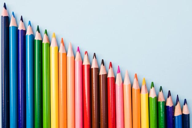 Close-up set of colored pencils Free Photo