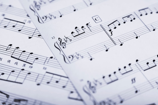 Close-up sheet music Free Photo