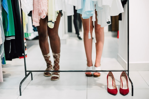 Close-up shop with elegant shoes Free Photo