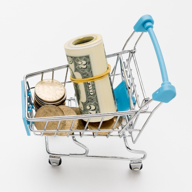 Close-up shopping cart filled with money Free Photo