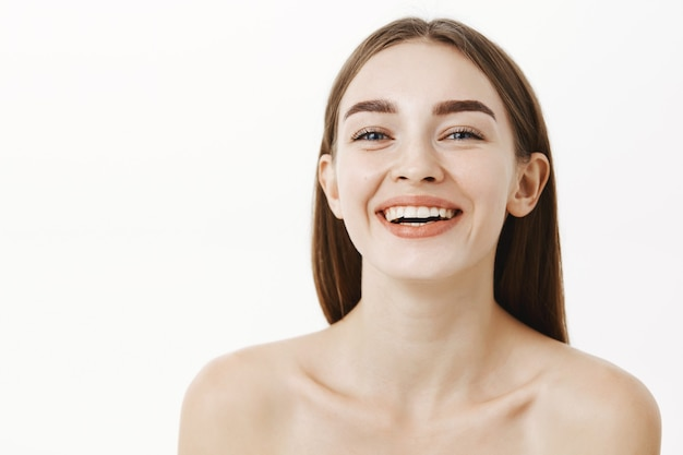 Happy Young Girl Showing Portrait Naked Woman Stock Image