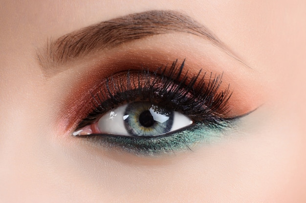 Close up shot of an eye of a female model with professional colo Premium Photo