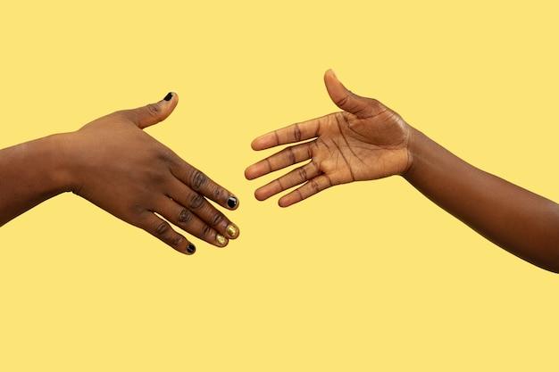 Immagine ravvicinata di mani umane che tengono isolato su giallo Foto Gratuite