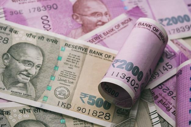 Close up shot of indian rupee banknotes Premium Photo