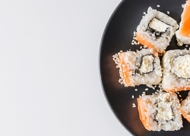 Close up shot of sushi plate with copy-space Free Photo