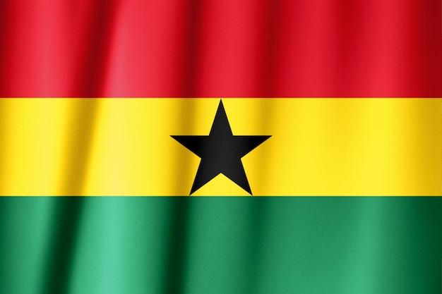 Close up shot of wavy, colorful flag of ghana Premium Photo
