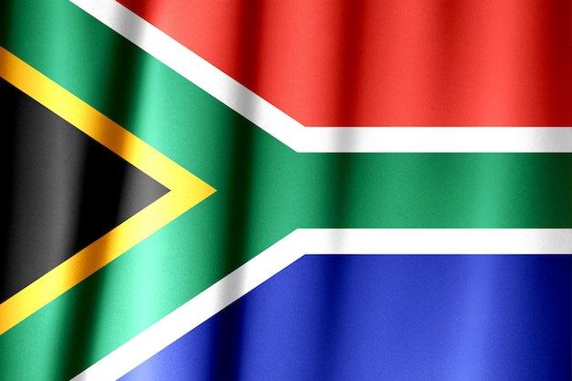 Close up shot of wavy, colorful south african flag Premium Photo