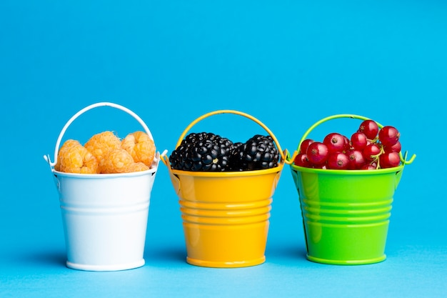 Close-up of small buckets with berries Free Photo