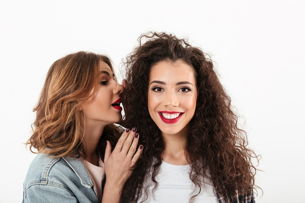 Close up smiling curly girl looking at the camera while her friend talking her in ear over white wall Free Photo